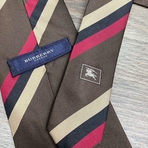 Burberry Brown w/ Red & Tan Stripe Silk Tie